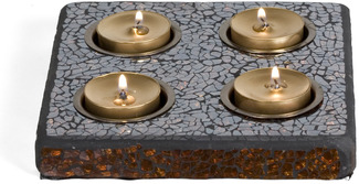 "Mosaic by Fragments - 6.25"" Sq (4) Tea Light Tray"