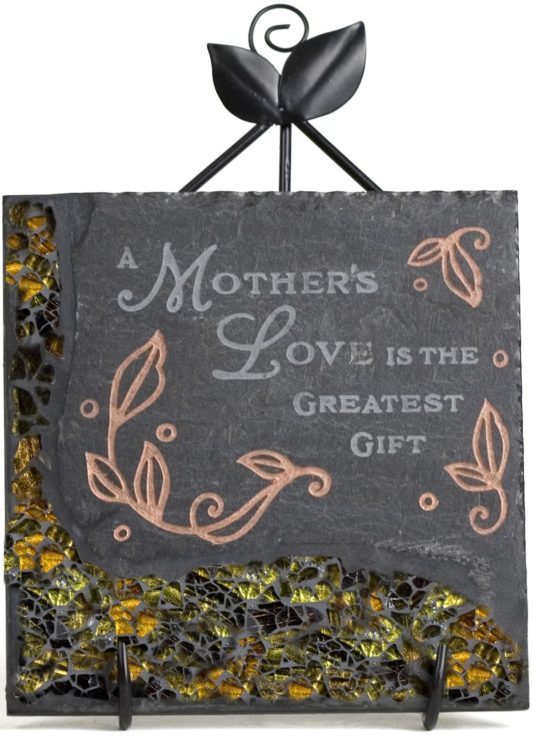 "Mother Mosaic by Fragments - Mother Mosaic - 5"" Slate Sq. Plaque w/Stand"