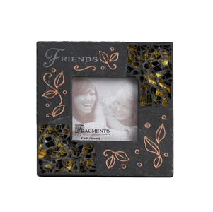 "Friends Mosaic by Fragments - 5.5"" Slate Photo Frame 3""x3"""