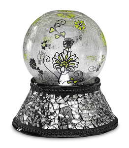 "Black Mosaic by UpWords - 5"" Glass Illuminated Orb"