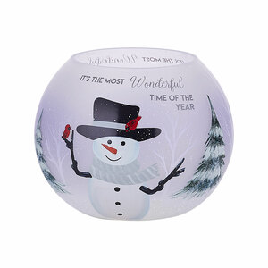"Snowman by Candle Decor - 5"" Round Votive Holder"