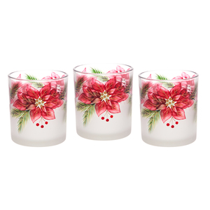 Poinsettia by Candle Decor - 3 Assorted Votive Holders