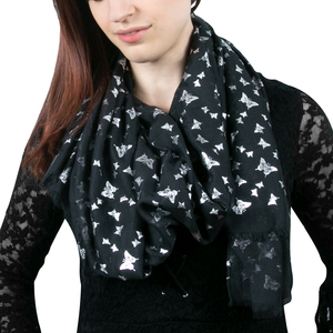 "Butterfly Black by Forever in our Hearts - 27.5"" x 71"" In Memory Scarf"