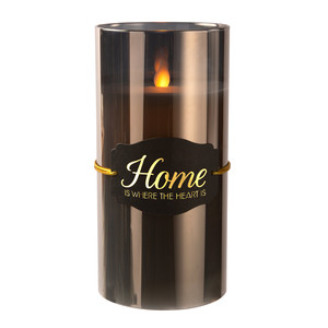 "The Heart by Candle Decor - 7"" Smoke Luster Realistic Flame Candle"