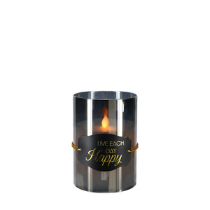 "Happy by Candle Decor - 5"" Smoke Luster Realistic Flame Candle"