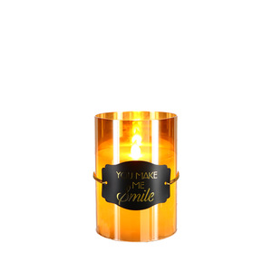 "Smile by Candle Decor - 5"" Amber Luster Realistic Flame Candle"