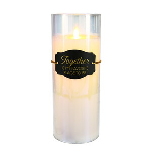 "Together by Candle Decor - 9"" Clear Luster Realistic Flame Candle"