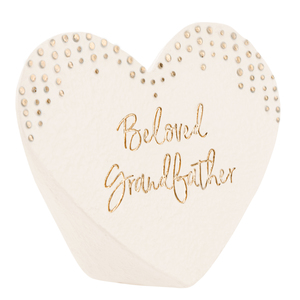 "Beloved Grandfather by Forever in our Hearts - 3.5"" x 3"" Heart Memorial Stone"