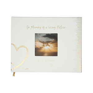 "Father by Forever in our Hearts - 9"" x 7"" Memorial Guest Book"