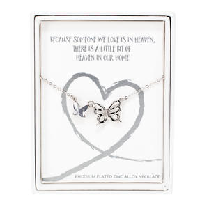 "Heaven by Forever in our Hearts - 16""-18""  Butterfly Memorial  Necklace"