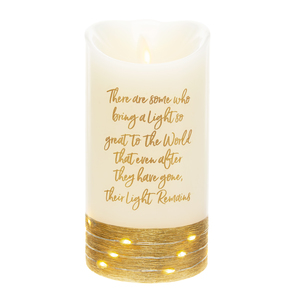 "Light by Forever in our Hearts - 3.5"" x 7"" Realistic Flame LED Lit Candle"