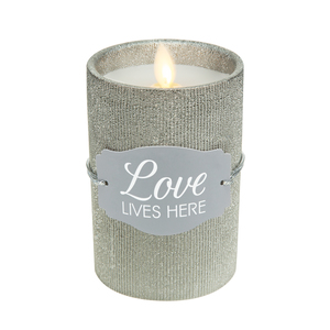 "Love by Candle Decor - 4.75"" Pewter Glitter Realistic Flame Candle"