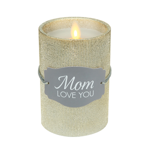 "Mom by Candle Decor - 4.75"" Gold Glitter Realistic Flame Candle"