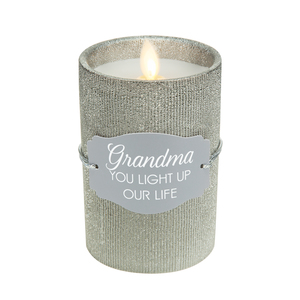 "Grandma by Candle Decor - 4.75"" Pewter Glitter Realistic Flame Candle"