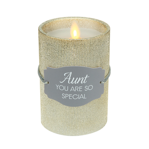 "Aunt by Candle Decor - 4.75"" Gold Glitter Realistic Flame Candle"