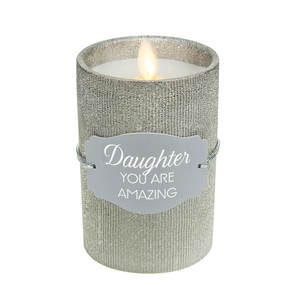 "Daughter by Candle Decor - 4.75"" Pewter Glitter Realistic Flame Candle"