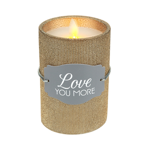 "Love You by Candle Decor - 4.75"" Bronze Glitter Realistic Flame Candle"