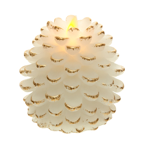 "White Pine Cone by Pavilion Accessories - 4.25"" Realistic Flame LED Lit Candle"