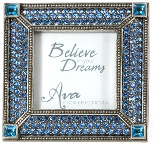 "Square Light Sapphire Frame by Ava Collection - 3"" Multi Gem (2"" x 2"") Photo Frame"