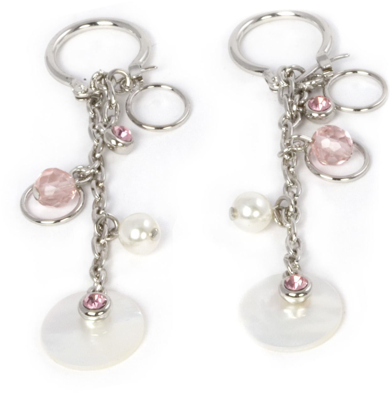 Pink Rose Earrings by Ava Collection - Pink Rose Earrings - w/Pearl Accents