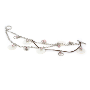 Pink Rose Bracelet by Ava Collection - w/Pearl Accents