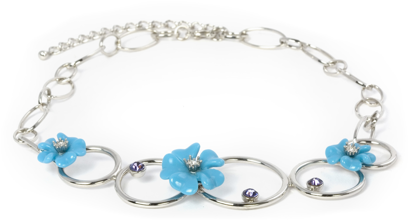 "Tanzanite Necklace by Ava Collection - Tanzanite Necklace - 18.25"" Blue Flowers & Silver Circles"