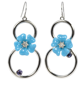 Tanzanite Earrings by Ava Collection - Flowered  w/Silver Circles