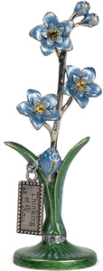 "Thinking of You by Hearts & Meadows - 4.5"" Blue Pewter Flower"