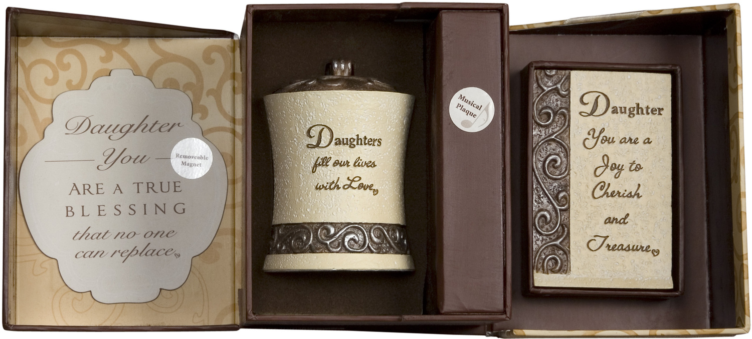 Daughter Gift Set by Comfort to Go - <em>Daughter</em> - Musical Plaque, Candle Holder, & Magnet Set -