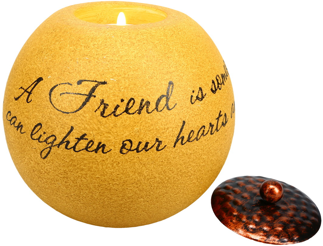 "Friend by Comfort Candles - Friend - 4.5"" Round Candle Holder"