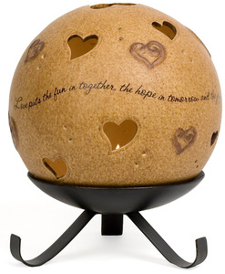 "Love by Comfort Candles - 5"" Pierced Round Hearts Candle Holder"