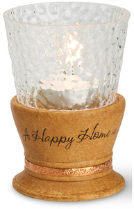 "Happy Home by Comfort Candles - 4"" Tall Tea Light Holder"