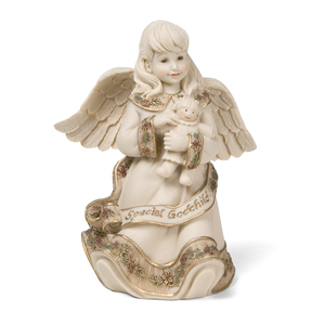"Special Godchild Angel by Sarah's Angels - 4.5"" Angel with Doll"