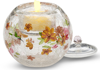 "Hummingbird Floral w/TL by Bonita - 3.5"" Glass Tea Light Holder"