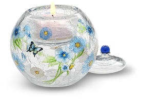 "Blue Floral w/TL by Bonita - 3.5"" Glass Tea Light Holder"