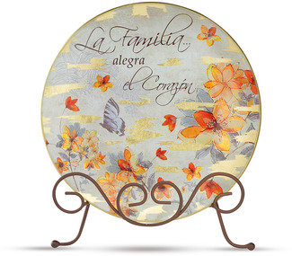 "La Familia by Bonita - 8"" Plate and Stand with Spanish sentiment."
