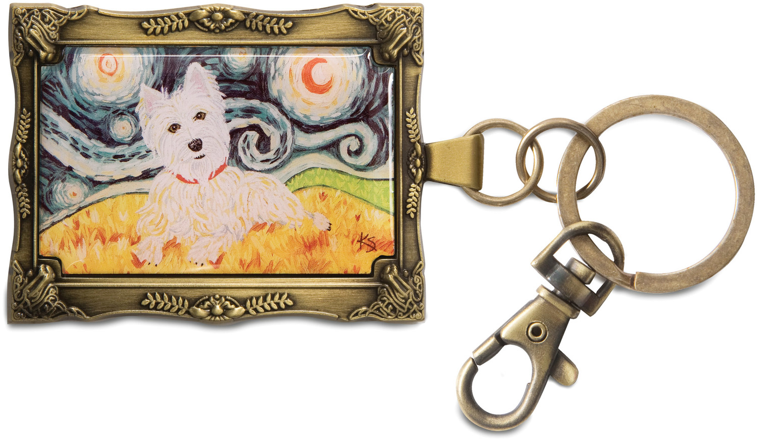 "West Highland Terrier - Van by Paw Palettes - West Highland Terrier - Van - 2""x 2.75"" Key Chain"