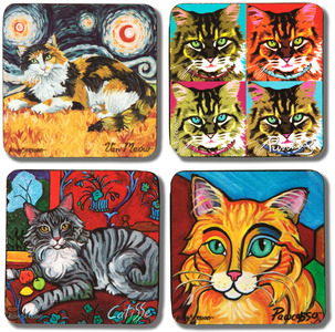 "Long Haired Cats by Paw Palettes - 4"" Cat Coaster Multiple Artists Set"
