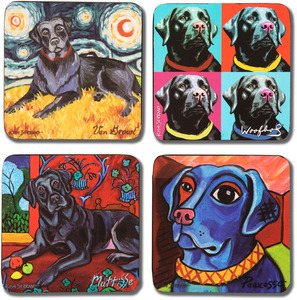 "Black Lab by Paw Palettes - 4"" Dog Coaster Multiple Artists Set"