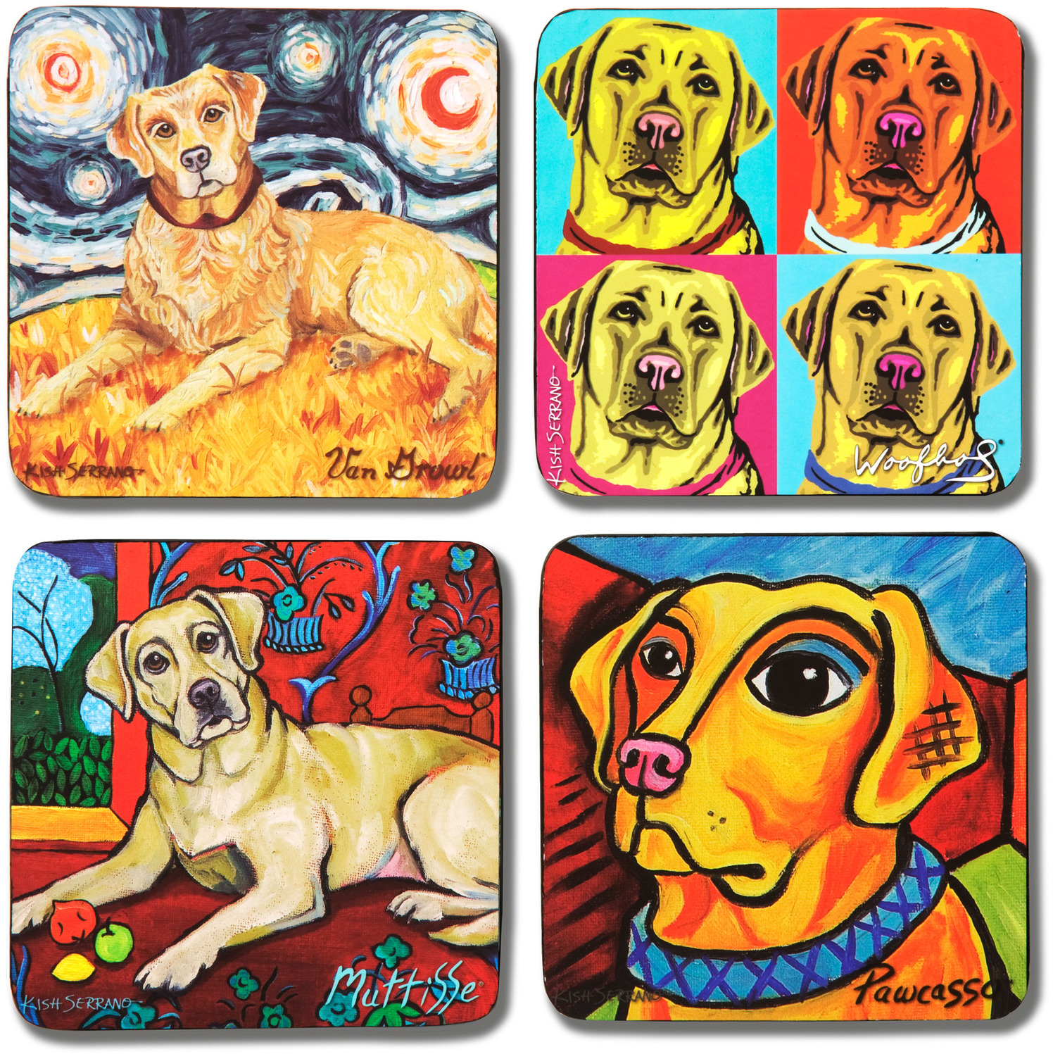 "Yellow Lab by Paw Palettes - Yellow Lab - 4"" Dog Coaster Multiple Artists Set"