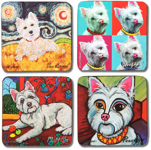 "Westie by Paw Palettes - 4""- 4 Pc. Coaster Set w/Box"