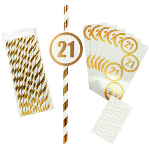 21 by Salty Celebration - 24 Pack Party Straws