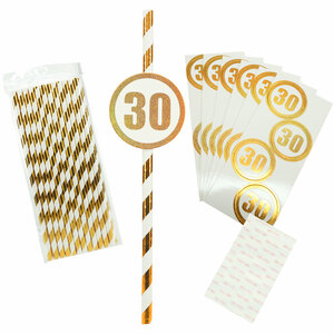 30 by Salty Celebration - 24 Pack Party Straws