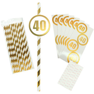40 by Salty Celebration - 24 Pack Party Straws