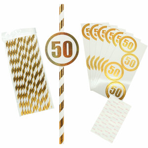 50 by Salty Celebration - 24 Pack Party Straws