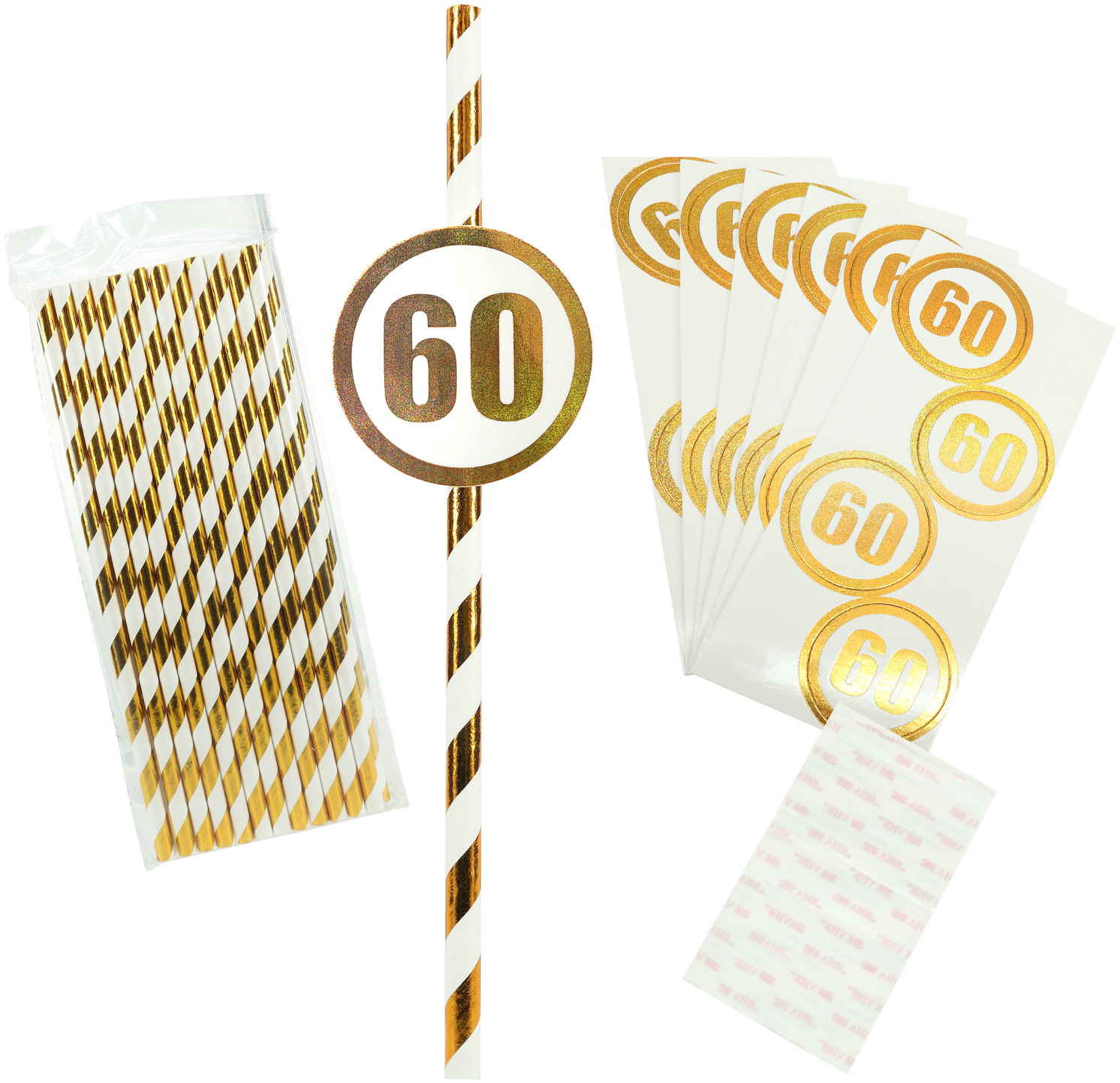 60 by Salty Celebration - 60 - 24 Pack Party Straws