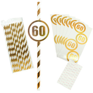 60 by Salty Celebration - 24 Pack Party Straws