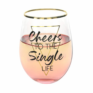 Single Life by Salty Celebration - 18 oz Stemless Wine Glass
