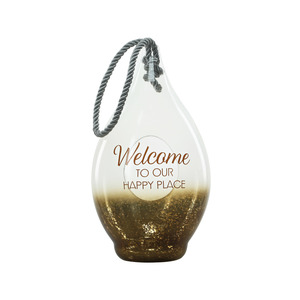 "Welcome by Lots of Lanterns - 15.5"" Bronze Glass Lantern"