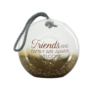 "Friends by Lots of Lanterns - 9.5"" Bronze Glass Lantern"